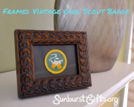 framed vintage Girl Scout Hospitality Badge Gift