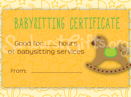 Sunburst Gifts Babysitting Gift Certificate Yellow Sample