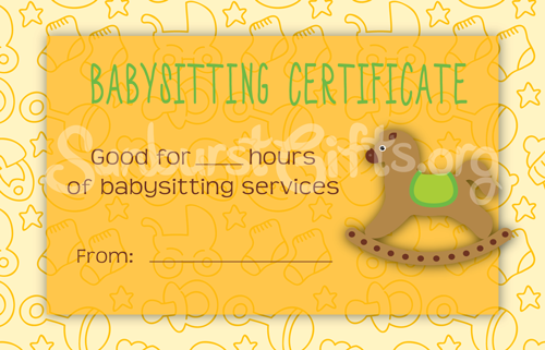For mommies everywhere babysitting certificates for Babysitting gift certificate template