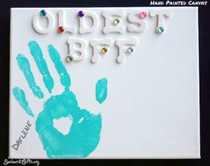 Hand Prints on Canvas Best Friends Gift Idea