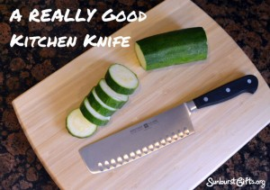 kitchen knife and sliced zucchini