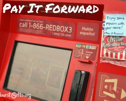 pay it forward popcorn taped to Redbox machine