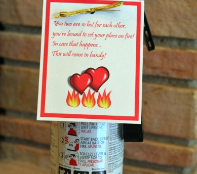 fire extinguisher with gift tag