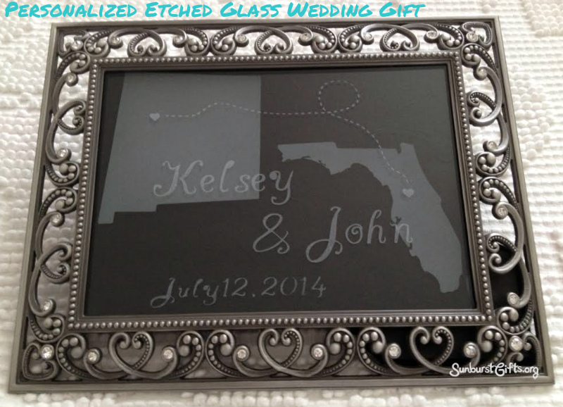 Love connection personalized etched glass wedding gift for Etched glass wedding gifts