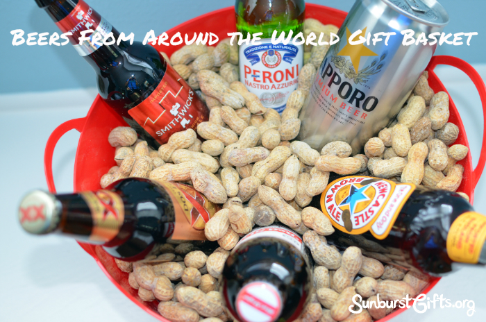 imported beers in plastic tub filled with whole in shell roasted peanuts
