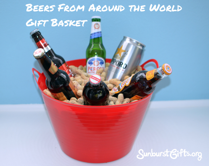 ... imported beers in plastic tub filled with whole in shell roasted peanuts