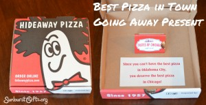 pizza gift card taped inside pizza box