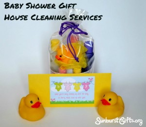 house cleaning gift certificate with baby bath time gift set