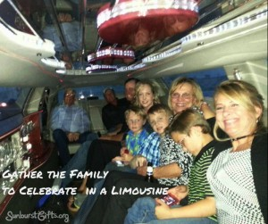 large family riding inside limousine