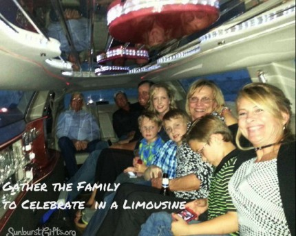 large family riding inside limousine