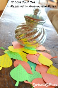 jar and notes written on leaf-shaped paper