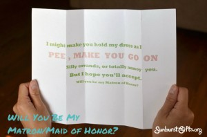 letter asking someone to be a matron of honor