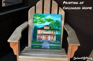 canvas painting of a two story house