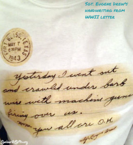 WWII-letter-transferred-to-t-shirt-thoughtful-gift-idea