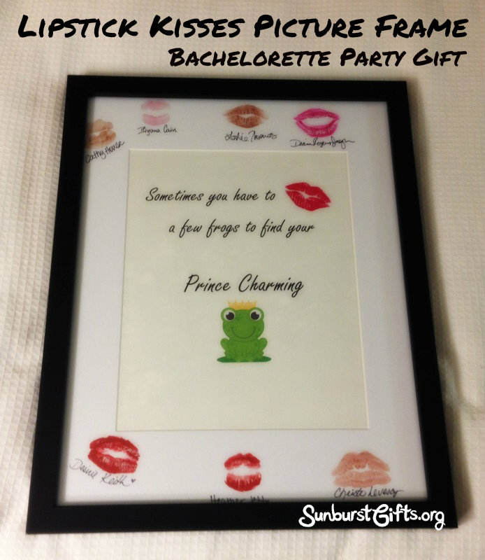 Bachelorette Party Gift | Lipstick Kisses Picture Frame - Thoughtful ...