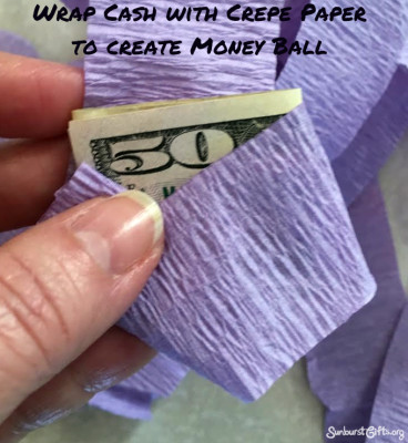crepe-paper-money-ball-$50-thoughtful-gift-idea