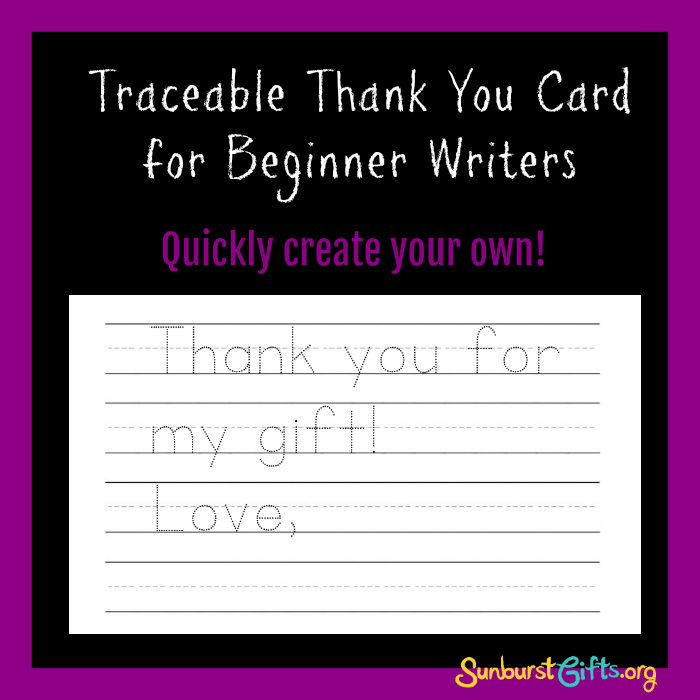 Kids Traceable Thank You Card - Thoughtful Gifts | Sunburst ...
